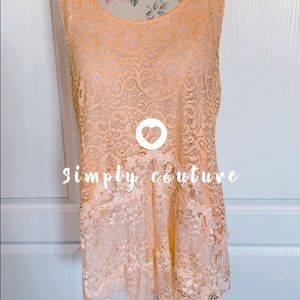 Simply couture long lace tunic peach NWT